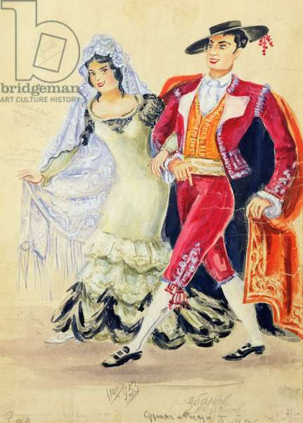 Costume design for Mozart's 'The Marriage of Figaro', 1936 (watercolour and gouache on paper)
