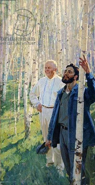Nikita Krushchev (1894-1971) and Fidel Castro (b.1926) in a Birch Grove, 1960s (oil on canvas)