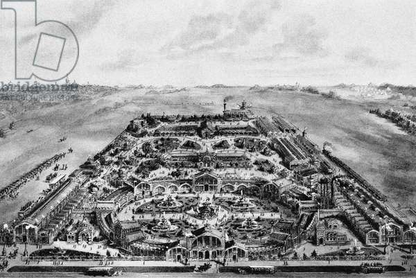 View of the 1882 All-Russian Exposition, Khodynka, Moscow, Russia (litho)