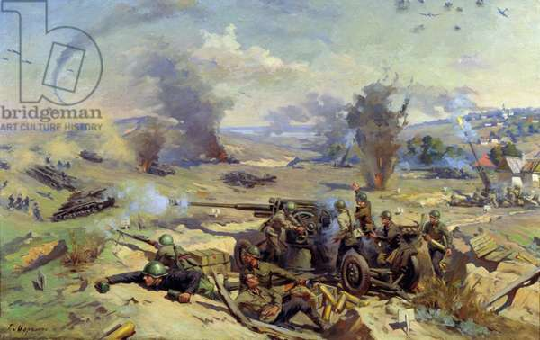 Russian Artillery on the Defence of Stalingrad, 1947 (oil on canvas)