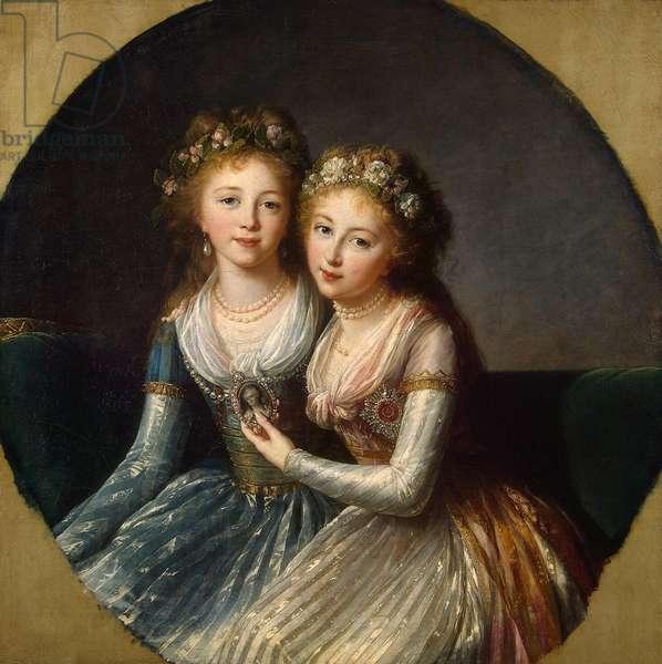 Portrait of Grand Duchesses Alexandra Pavlovna and Elena Pavlovna of Russia, 1796 (oil on canvas)