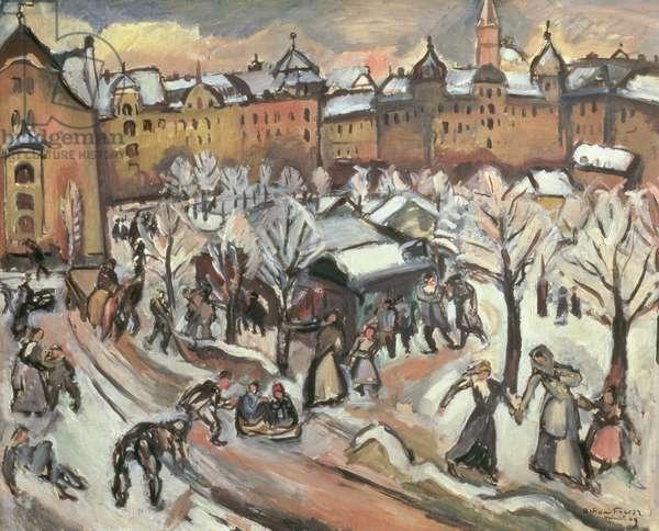 Snow in Munich, 1909 (oil on canvas)