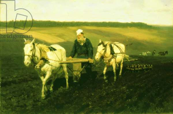 The writer Lev Nikolaevich Tolstoy ploughing with horses, 1889 (oil on canvas)