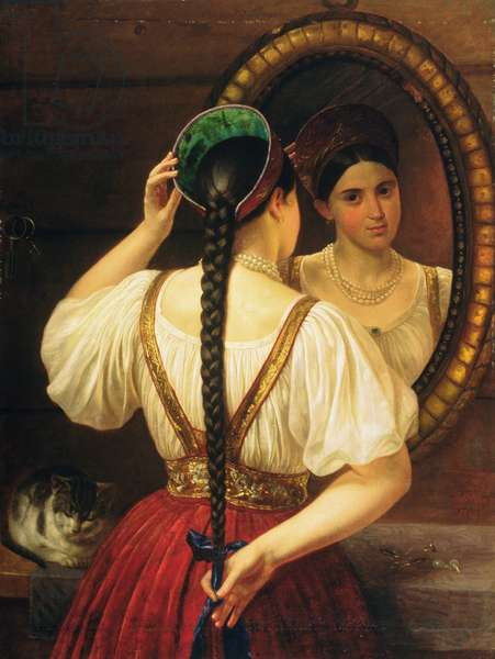 A girl at the mirror, 1848 (oil on canvas)