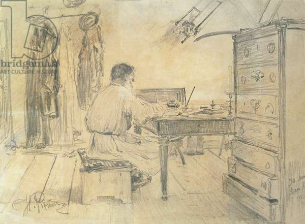Leo Tolstoy (1818-1910) in his Study, 1891 (pencil on paper)