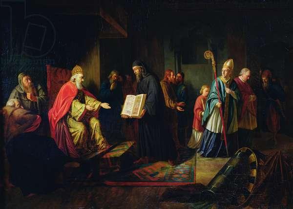 Vladimir Svyatoslavich the Great choosing the religion in 987 (oil on canvas)