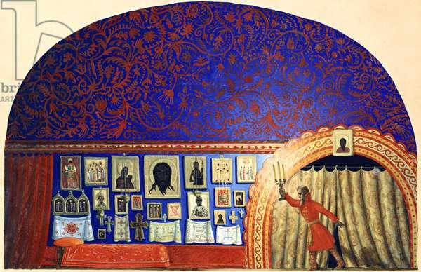 Stage design for Alexander Pushkin's play 'Boris Godunov', 1937 (gouache & tempera on cardboard)