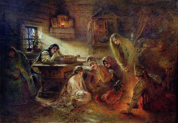 Christmas Fortune Telling (oil on canvas)