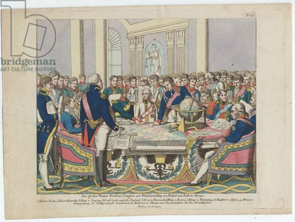 The Congress of Vienna (hand-coloured etching)