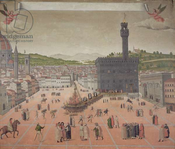 Savonarola Being Burnt at the Stake, Piazza della Signoria, Florence (oil on panel)