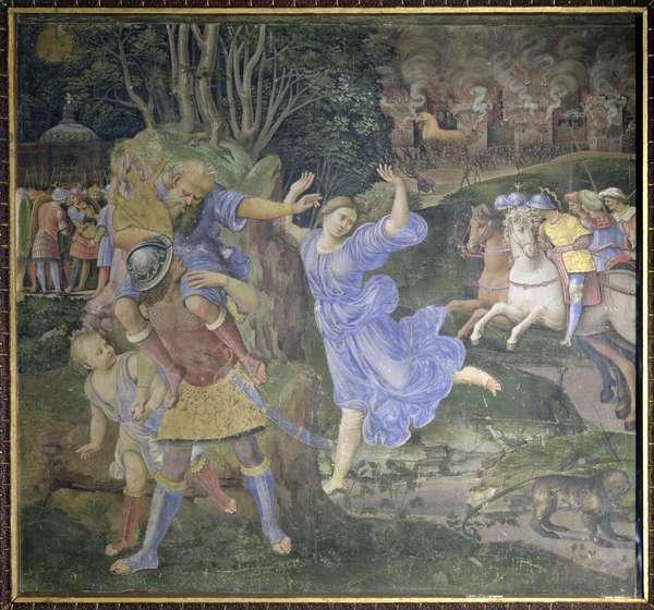 Aeneas Fleeing Troy (oil on canvas)