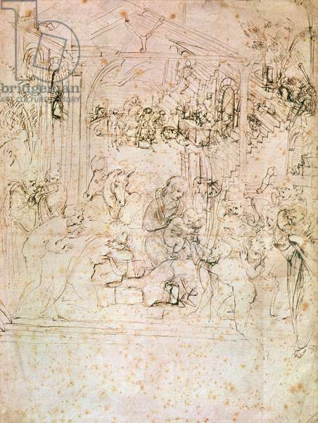 Composition sketch for The Adoration of the Magi, 1481 (pen and ink on paper)