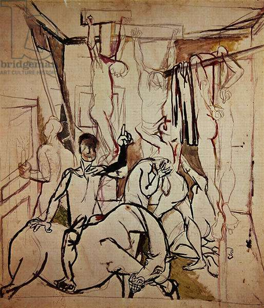 Study for the Crucifixion, 1940 (pencil & w/c on paper)