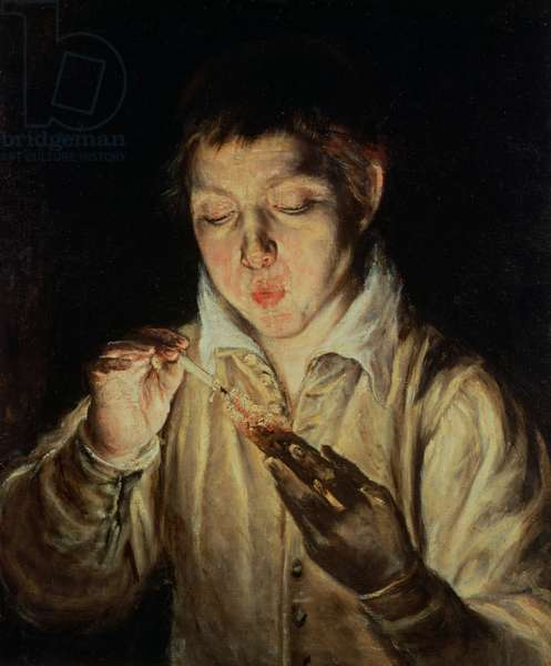 A Child Blowing on an Ember, early 1570s (oil on canvas)