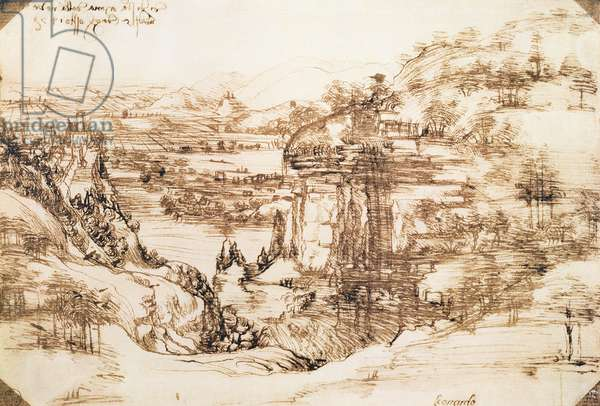 Arno Landscape, 5th August, 1473 (pen and ink on paper)