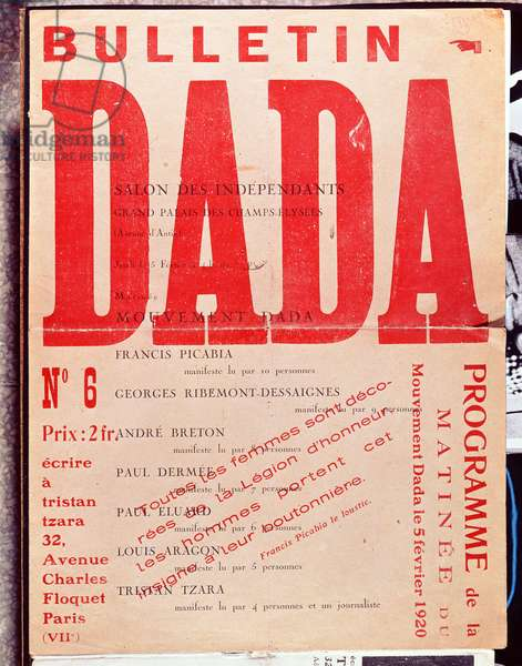 Front cover of 'Bulletin Dada No. 6', February 1920 (colour litho)