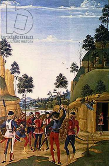 Arrest of a young man and his liberation by St. Bernardino of Siena (1380-1444) 1473 (oil on panel)