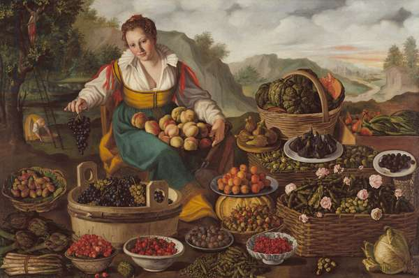 The Fruit Seller (oil on canvas)