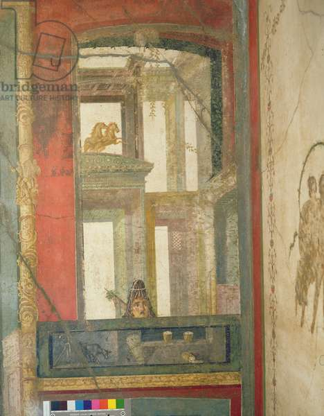 Fantastical architecture with two horses and a theatrical mask, from the Case dei Vettii (House of the Vettii) c.50-79 AD (fresco)