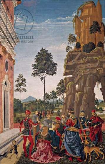 St. Bernardino of Siena (1380-1444) healing a paralytic man, 1473 (oil on panel)