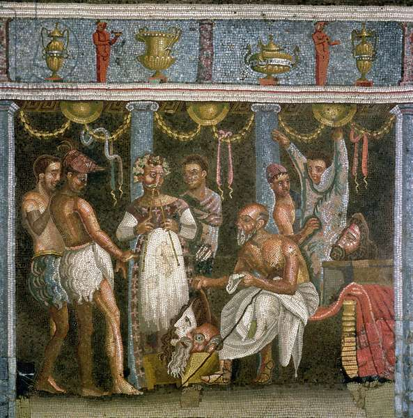 Actors rehearsing for a Satyr play, c.62-79 AD (mosaic)