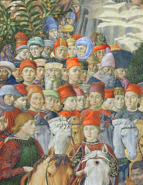 The Procession of the Magi, detail of the Cavaliers, 1459-62 (fresco)