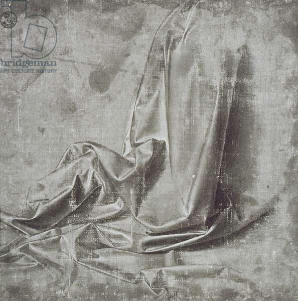 Drapery study for a kneeling figure in Profil Perdu to the right, c.1472-75 (brush & grey tempera with white on canvas)