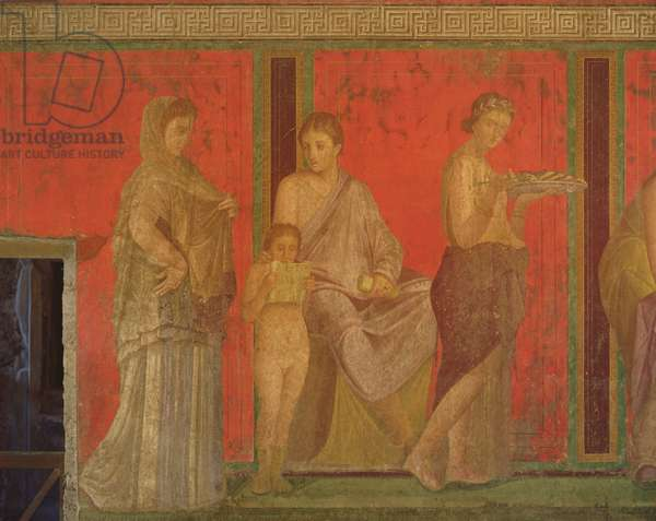The Catechism with a Young Girl Reading and the Initiate Making an Offering, North Wall, Oecus 5, c.60-50 BC (fresco) (see also 55070, 57184 and 166518)
