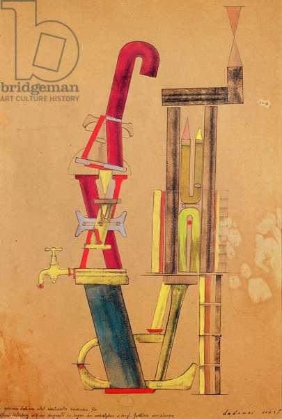 Little Machine Constructed by Minimax Dadamax in Person (Von minimax dadamax selbst konstruirtes maschinchen), 1919–20 (hand printing (?), pencil and ink frottage, w/c and gouache on paper)