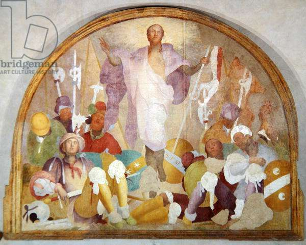 The Resurrection, lunette from the fresco cycle of the Passion, 1523-26 (fresco)