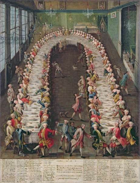 The Banquet at Casa Nani, Given in Honour of their Guest, Clemente Augusto, Elector Archbishop of Cologne, on 9th September 1755 (oil on canvas)