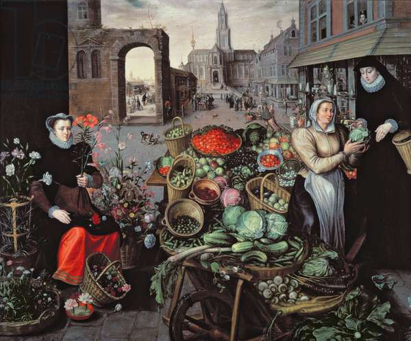 Vegetable and Flower Market (oil on canvas)