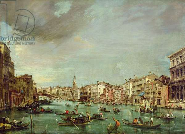 The Grand Canal looking towards Rialto with Palazzo Grimani and Palazzo Manin, 1760 (oil on canvas)