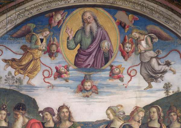 The Eternal Father in Glory with Prophets and Sibyls, from the Sala dell'Udienza, 1496-1500 (fresco) (detail of 192389)