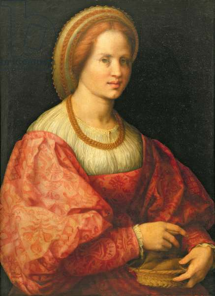 Portrait of a Woman with a Basket of Spindles, c.1514-17 (oil on panel)