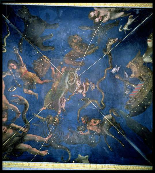 Signs of the Zodiac, detail from the ceiling of the Sala dello Zodiaco, 1579 (fresco)
