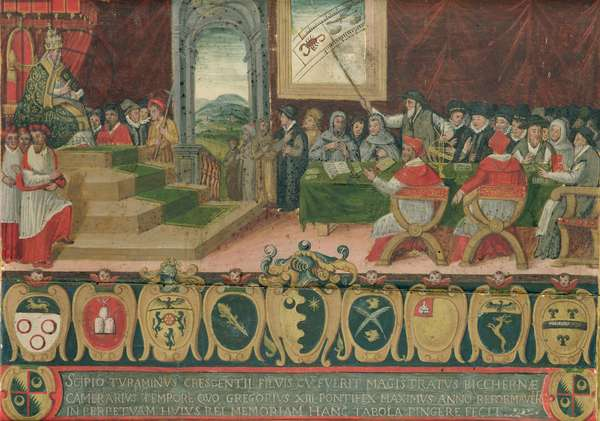 Discussion of the Reform of the Calendar under Pope Gregory XIII (1502-85) replaced by the Gregorian Calendar, Rome, 15 October 1582 (oil on panel) (see also 102626)