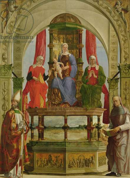 Madonna and Child Enthroned with Saints, from Santa Maria in Porto, Ravenna, c.1480 (oil on panel)