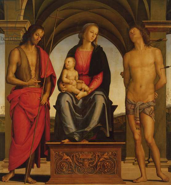 Madonna and Child enthroned between St John the Baptist and St Sebastian, 1493 (oil on panel)