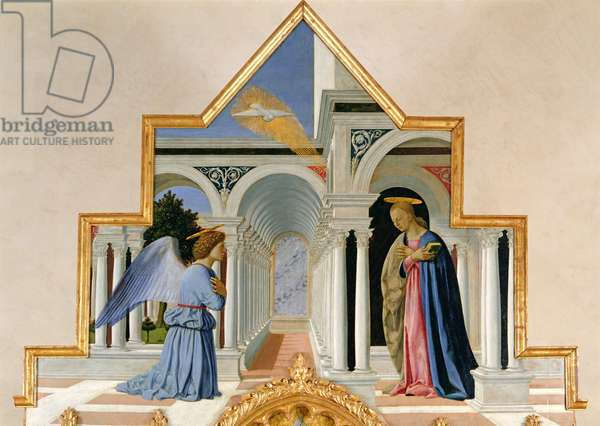 Annunciation and Madonna and Child with Saints, detail of the Annunciation (tempera on panel)