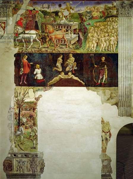 Allegory of May: Astrological Symbols of Gemini and Triumph of Apollo (Mese di Maggio: Simboli astrologici dei Gemelli e il Trionfo di Apollo), by Francesco del Cossa, 1469 - 1470, 15th Century, fresco