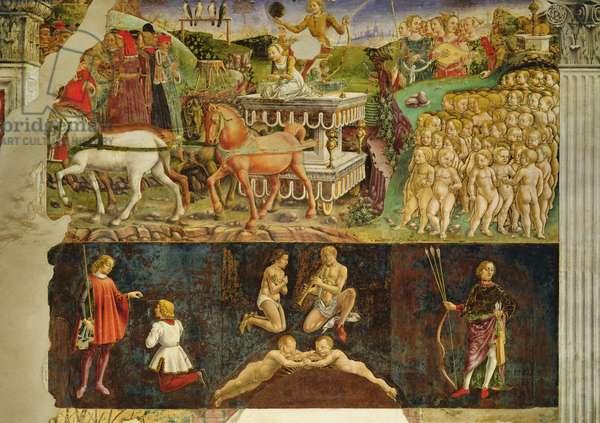 Allegory of May: the Triumph of Apollo, astrological symbols of Gemini, 1469-70, (fresco)