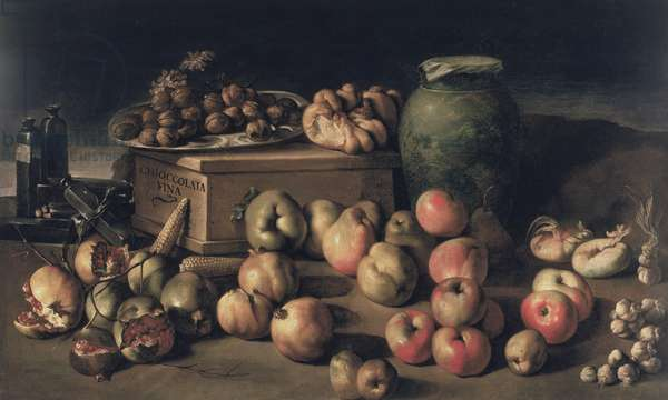Still life with fruit and a box of fine chocolate (oil on canvas)