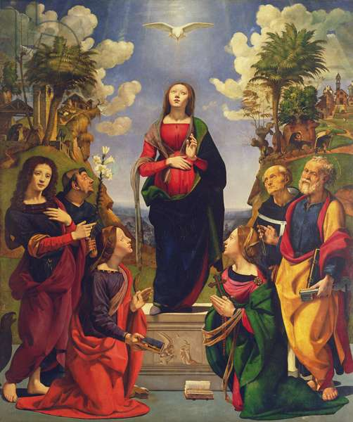 Immaculate Conception and Six Saints (oil on panel)