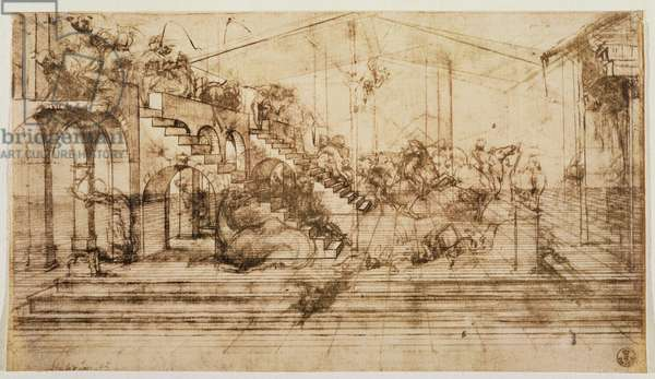 Perspective Study for the Background of The Adoration of the Magi (pen and ink on paper)