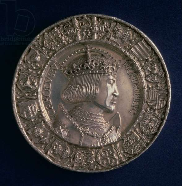 Coin bearing the portrait of Charles V Holy Roman Emperor and King of Spain as Charles I (1500-58), founder of the Habsburg Dynasty (silver)