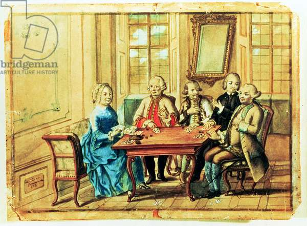 Empress Maria Teresa of Austria playing cards with Field Marshall Karoly Batthyany (1698-1772), Nadasky and Field Marshall Leopold Joseph, Count von Daun (1705-66), 1751 (w/c on paper)