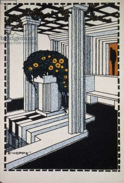 Poster depicting an interior designed in the Jugendstil style (colour litho)