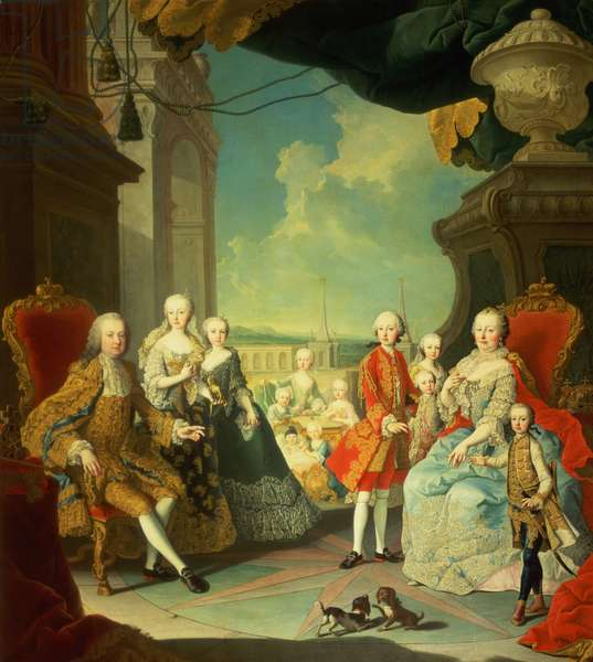 Maria Theresa and her Husband at the staircase leading from the Great Hall of Schloss Schonbrunn into the large courtyard, with their children Joseph II, Karl, Leopold II, Ferdinand, Mariana, Elizabeth, Christina, Amalia, Johanna and Josepha