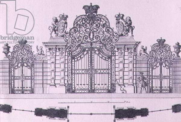 Plan and elevation of the entrance gates to Schloss Belvedere in Vienna probably designed by Johann George Oegg c.1725, engraved by Johann August Corvinus (1683-1738) (engraving)
